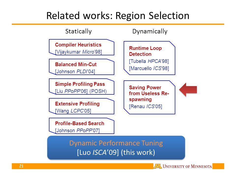 Related works: Region Selection Runtime Loop Detection [Tubella HPCA98] [Marcuello ICS98] Compiler Heuristics [Vijaykumar Micro98] 21 StaticallyDynamically Saving Power from Useless Re- spawning [Renau ICS05] Simple Profiling Pass [Liu PPoPP06] (POSH) Extensive Profiling [Wang LCPC05] Balanced Min-Cut [Johnson PLDI04] Profile-Based Search [Johnson PPoPP07] Lack of adaptability Lack of high-level information Dynamic Performance Tuning [Luo ISCA09] (this work) Dynamic Performance Tuning [Luo ISCA09] (this work)
