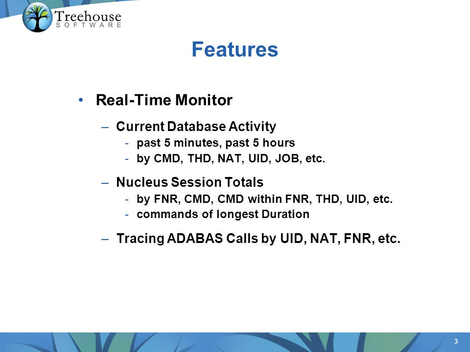 3 Features Real-Time Monitor –Current Database Activity -past 5 minutes, past 5 hours -by CMD, THD, NAT, UID, JOB, etc.