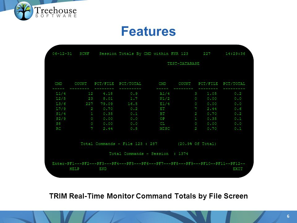 6 Features TRIM Real-Time Monitor Command Totals by File Screen 06-12-31 SCWF Session Totals By CMD within FNR 123 227 14:29:36 TEST-DATABASE CMD COUN
