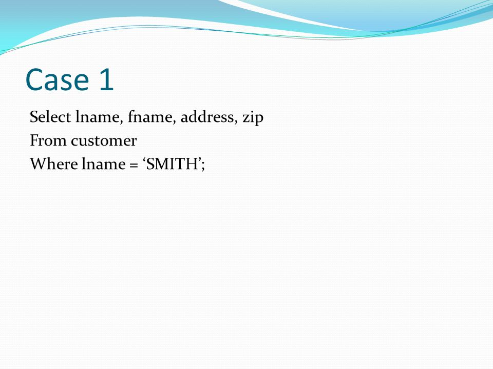 Case 1 Select lname, fname, address, zip From customer Where lname = SMITH;