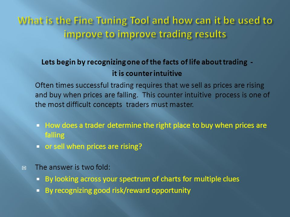 Lets begin by recognizing one of the facts of life about trading - it is counter intuitive Often times successful trading requires that we sell as prices are rising and buy when prices are falling.