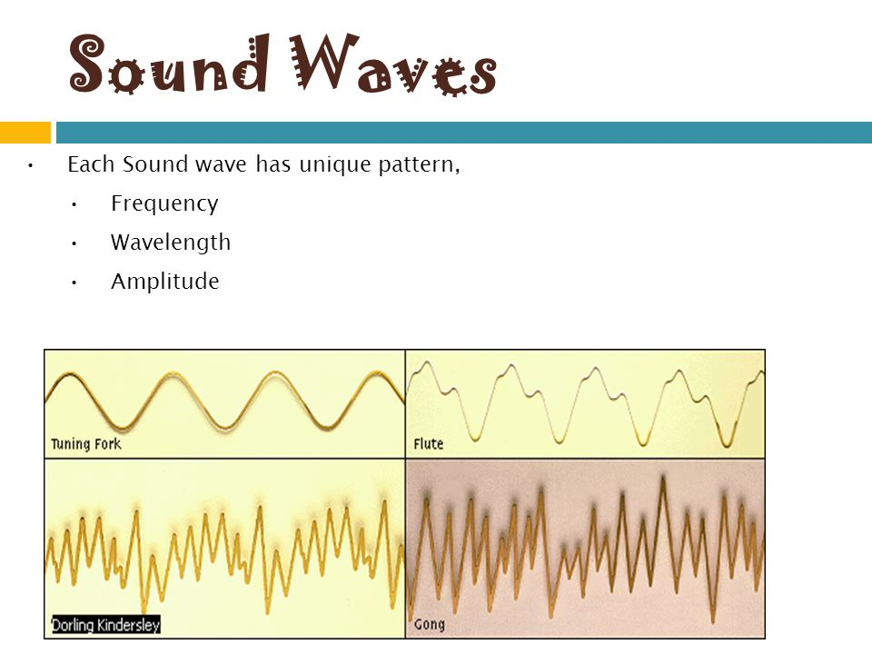Sound Waves Each Sound wave has unique pattern, Frequency Wavelength Amplitude