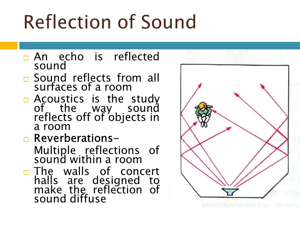 Reflection of Sound An echo is reflected sound Sound reflects from all surfaces of a room Acoustics is the study of the way sound reflects off of obje
