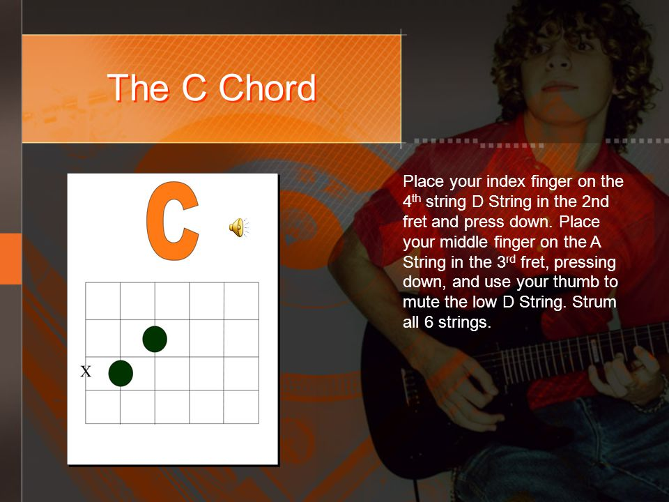 The C Chord Place your index finger on the 4 th string D String in the 2nd fret and press down.