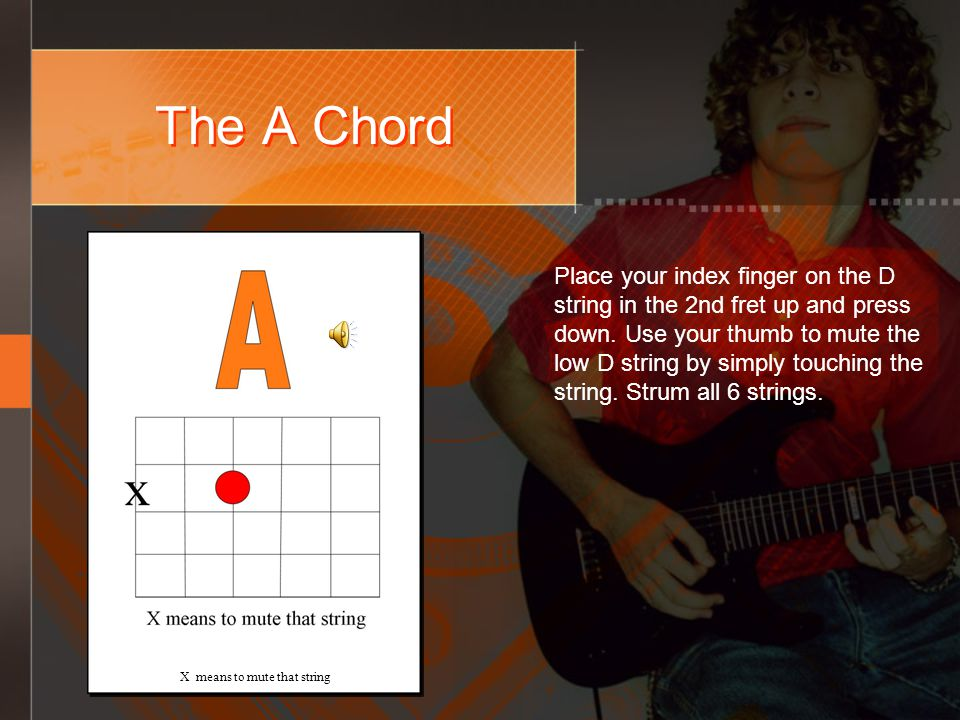 The A Chord X means to mute that string Place your index finger on the D string in the 2nd fret up and press down.