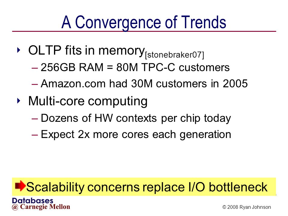 © 2008 Ryan Johnson Potential Scalability Bottlenecks Hardware DBMS Applications ??