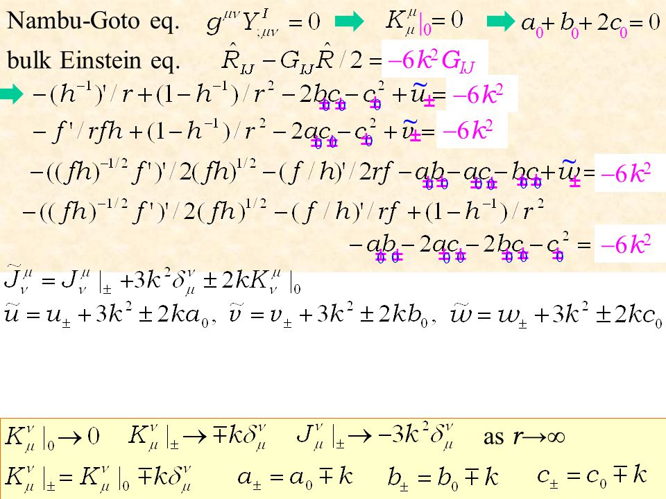 bulk Einstein eq. Nambu-Goto eq. 6 k 2 G IJ 6 k 2 ± ± ± ± ± ± 0 0 0 ± ± ±± ± ± ± ± ±± ± ± 0 ± ± ~ ~ ~ ± |0|0 ± 0 0 0 0 0 0 0 0 0 0 0 0 0 0 0 0 0 0 as