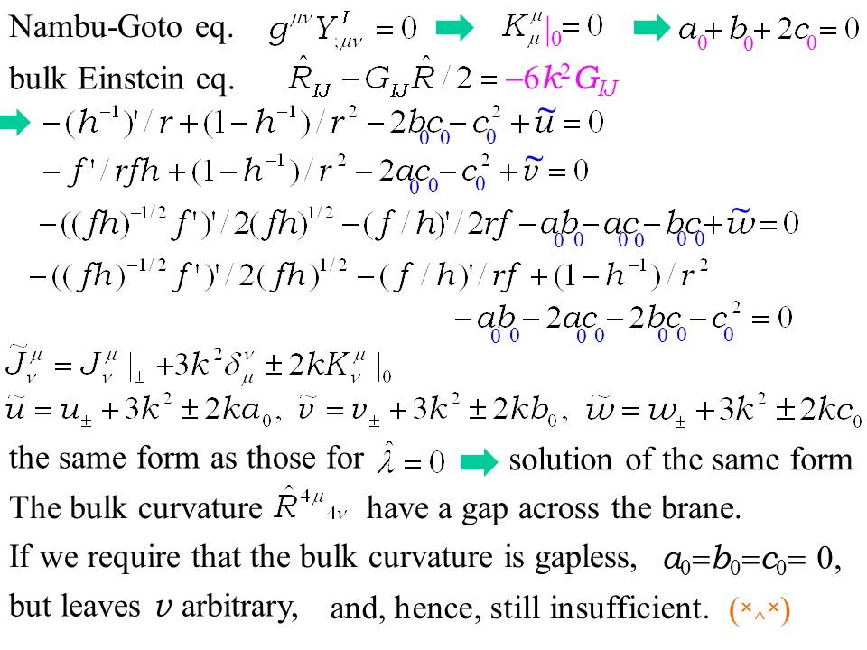 0 0 0 0 0 bulk Einstein eq. Nambu-Goto eq. 6 k 2 G IJ 0 0 0 0 ~ ~ ~ |0|0 0 0 0 0 0 0 0 0 0 0 0 0 0 the same form as those for solution of the same for