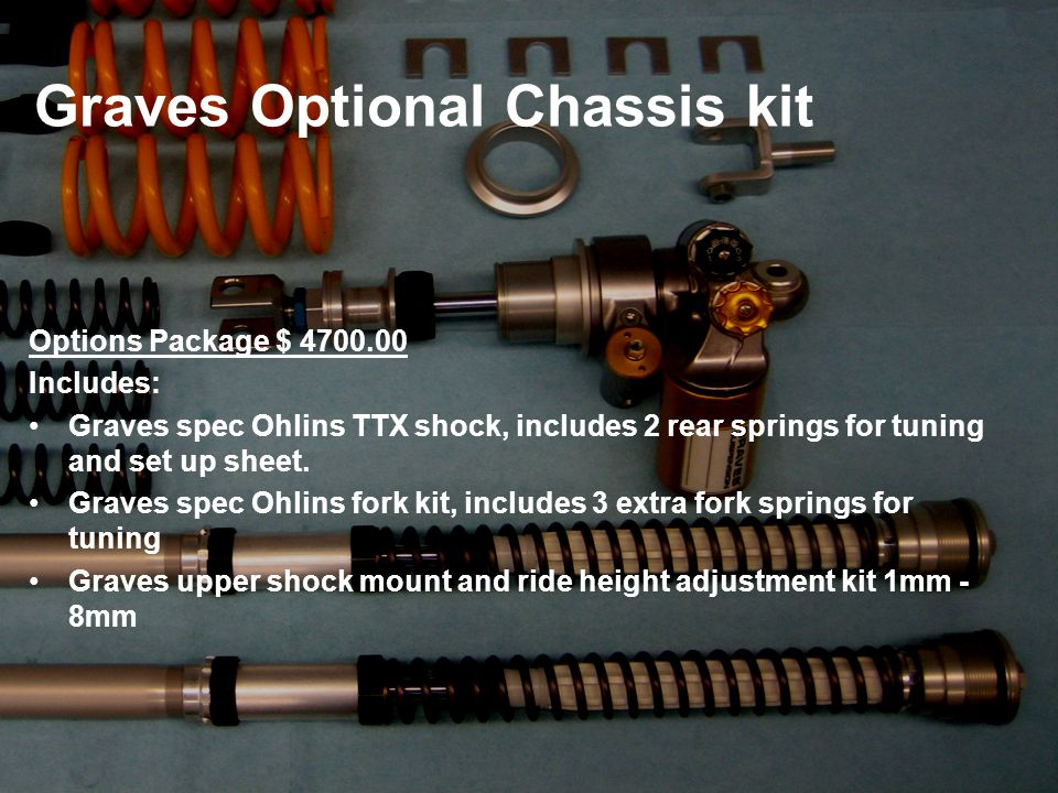 Graves Optional Chassis kit Options Package $ 4700.00 Includes: Graves spec Ohlins TTX shock, includes 2 rear springs for tuning and set up sheet.