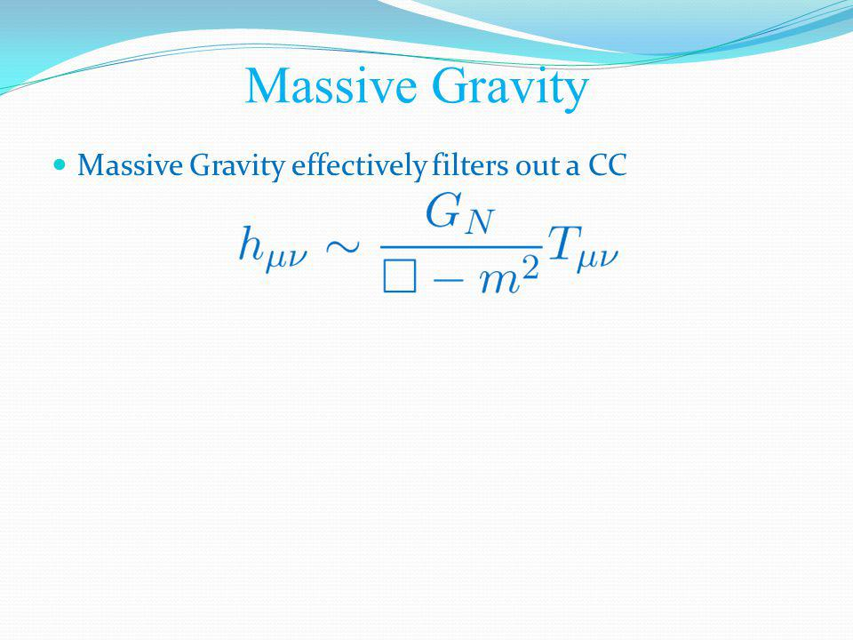 Massive Gravity effectively filters out a CC Massive Gravity