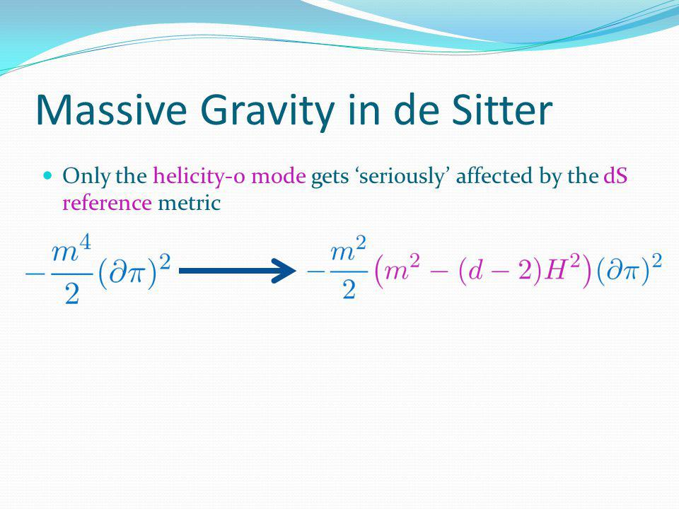 Massive Gravity in de Sitter Only the helicity-0 mode gets seriously affected by the dS reference metric