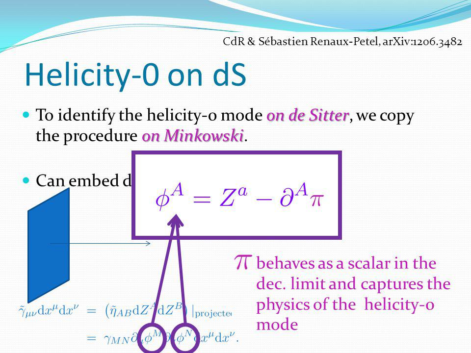 Helicity-0 on dS on de Sitter on Minkowski To identify the helicity-0 mode on de Sitter, we copy the procedure on Minkowski. Can embed d-dS into (d+1)