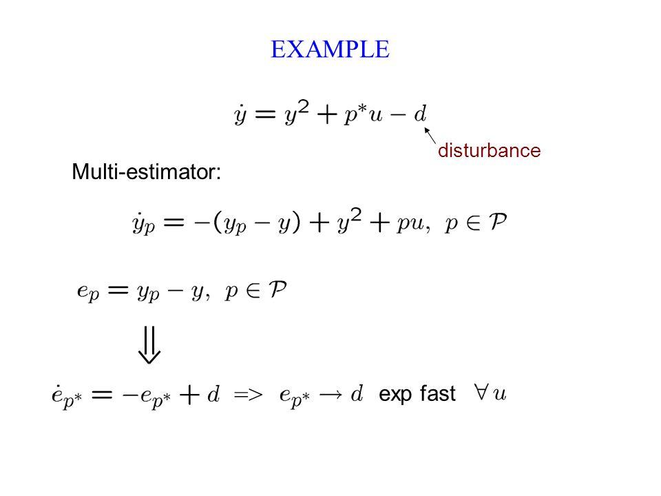 EXAMPLE Multi-estimator: disturbance exp fast =>