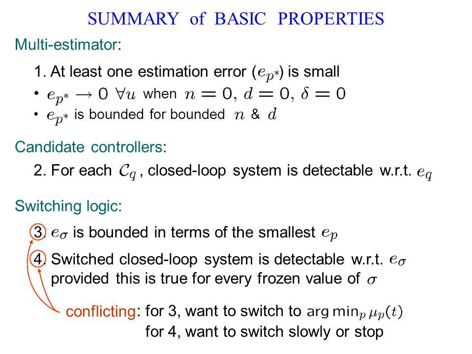SUMMARY of BASIC PROPERTIES Multi-estimator: 1.