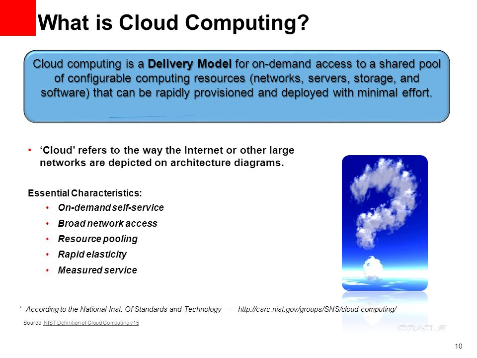 10 Source: NIST Definition of Cloud Computing v15NIST Definition of Cloud Computing v15 What is Cloud Computing? Cloud refers to the way the Internet