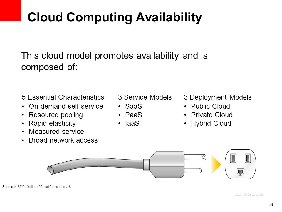 11 Cloud Computing Availability This cloud model promotes availability and is composed of: Source: NIST Definition of Cloud Computing v15NIST Definiti