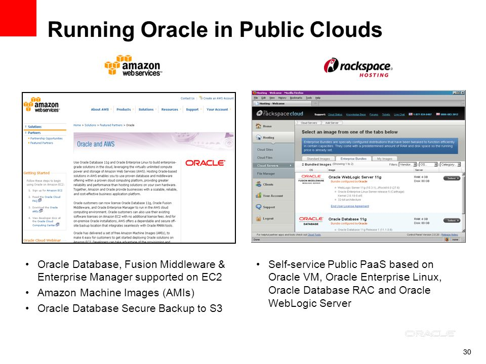 30 Running Oracle in Public Clouds Oracle Database, Fusion Middleware & Enterprise Manager supported on EC2 Amazon Machine Images (AMIs) Oracle Databa