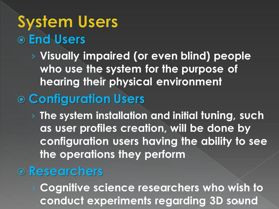 End Users End Users Visually impaired (or even blind) people who use the system for the purpose of hearing their physical environment Configuration Users Configuration Users The system installation and initial tuning, such as user profiles creation, will be done by configuration users having the ability to see the operations they perform Researchers Researchers Cognitive science researchers who wish to conduct experiments regarding 3D sound 10