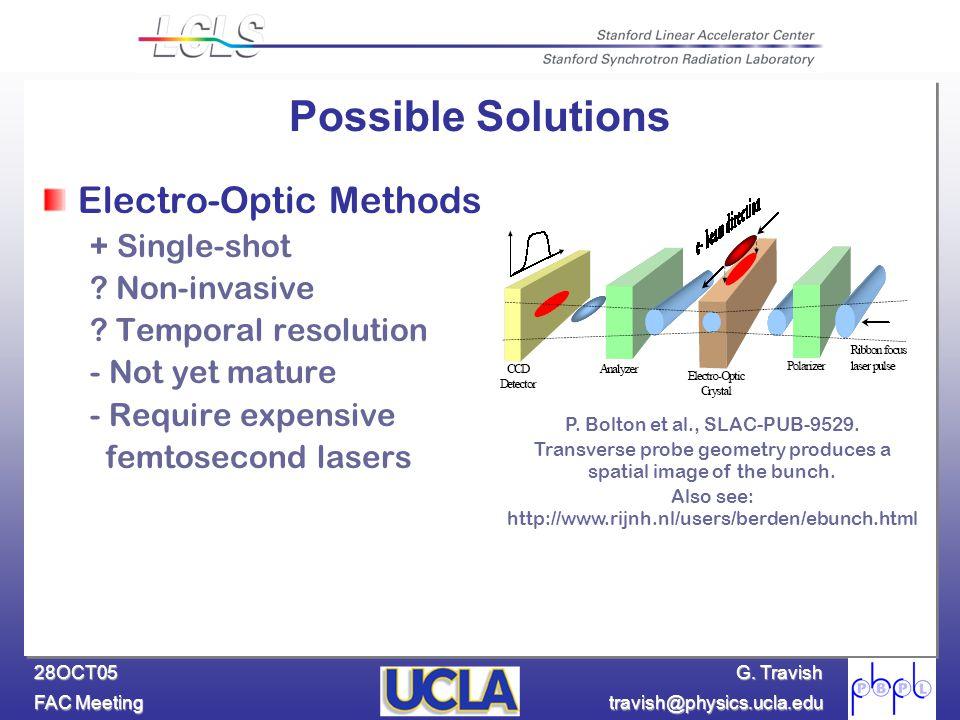 G. Travish FAC Meeting travish@physics.ucla.edu 28OCT05 Electro-Optic Methods + Single-shot ? Non-invasive ? Temporal resolution - Not yet mature - Re