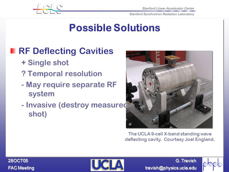 G. Travish FAC Meeting travish@physics.ucla.edu 28OCT05 RF Deflecting Cavities + Single shot ? Temporal resolution - May require separate RF system -