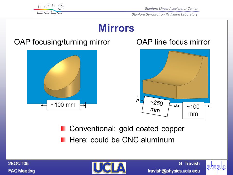 G. Travish FAC Meeting travish@physics.ucla.edu 28OCT05 ~100 mm OAP focusing/turning mirrorOAP line focus mirror ~100 mm ~250 mm Mirrors Conventional: