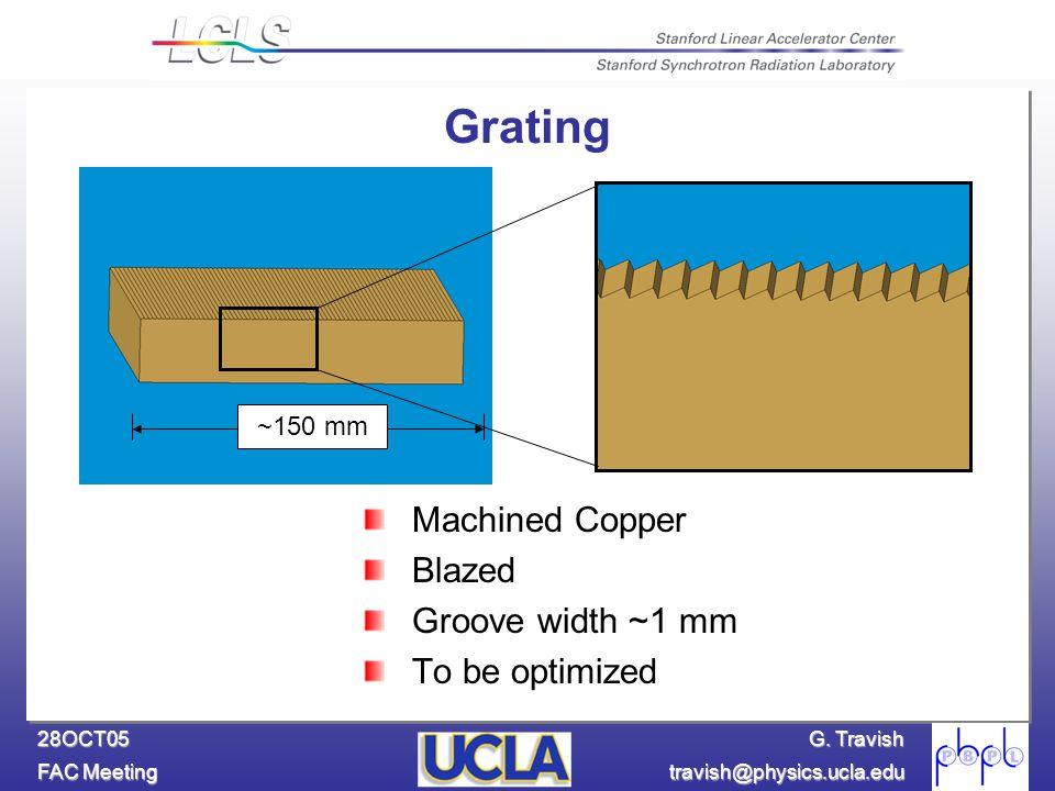G. Travish FAC Meeting travish@physics.ucla.edu 28OCT05 ~150 mm Grating Machined Copper Blazed Groove width ~1 mm To be optimized