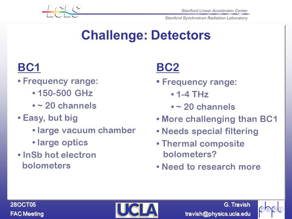 G. Travish FAC Meeting travish@physics.ucla.edu 28OCT05 BC1 Frequency range: 150-500 GHz ~ 20 channels Easy, but big large vacuum chamber large optics