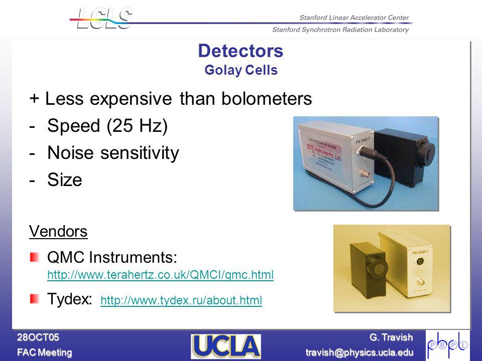 G. Travish FAC Meeting travish@physics.ucla.edu 28OCT05 + Less expensive than bolometers -Speed (25 Hz) -Noise sensitivity -Size Vendors QMC Instrumen