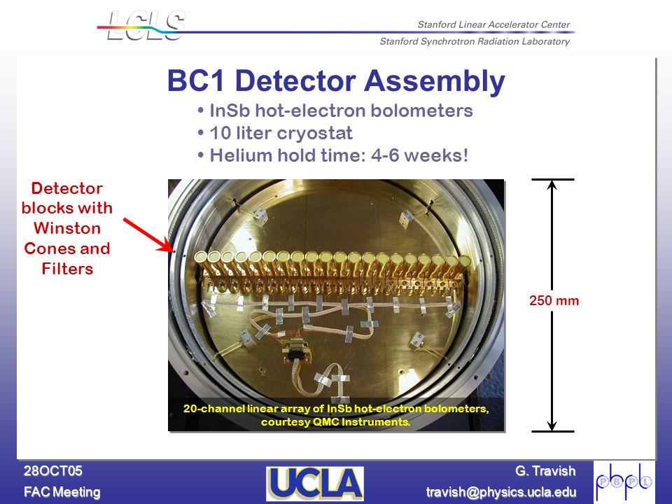 G. Travish FAC Meeting travish@physics.ucla.edu 28OCT05 20-channel linear array of InSb hot-electron bolometers, courtesy QMC Instruments. 250 mm InSb