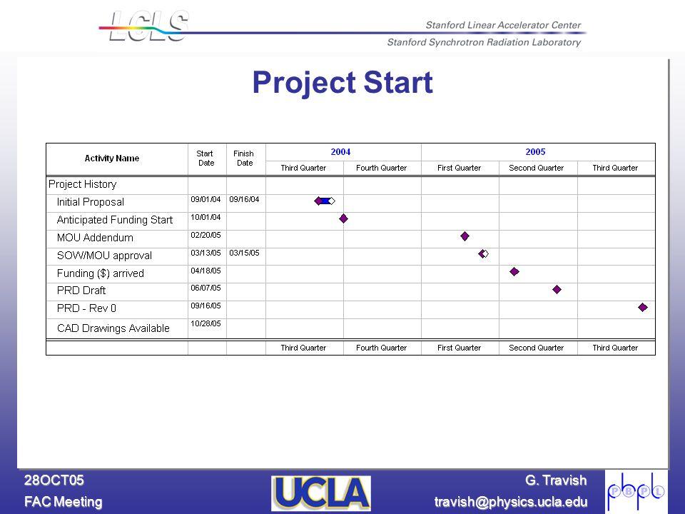 G. Travish FAC Meeting travish@physics.ucla.edu 28OCT05 Project Start