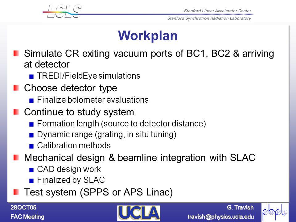 G. Travish FAC Meeting travish@physics.ucla.edu 28OCT05 Workplan Simulate CR exiting vacuum ports of BC1, BC2 & arriving at detector TREDI/FieldEye si