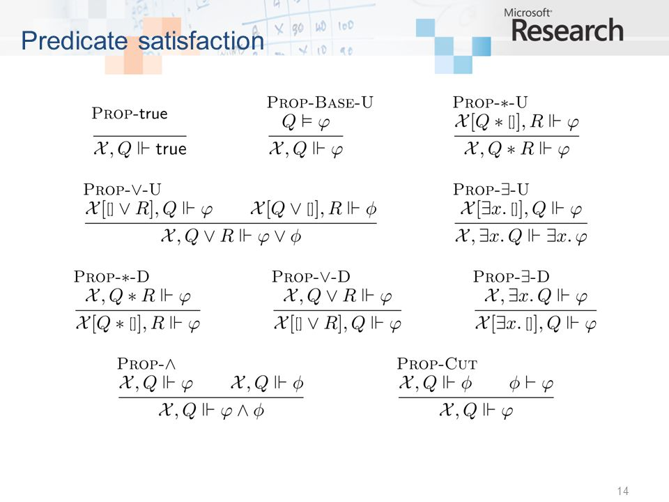 14 Predicate satisfaction