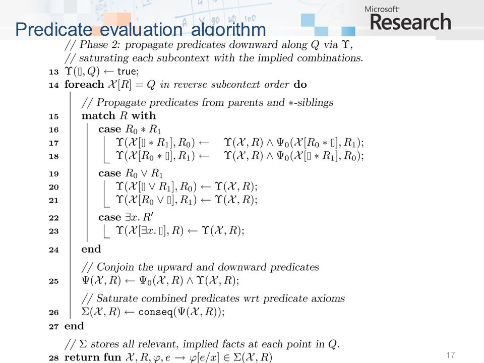 17 Predicate evaluation algorithm