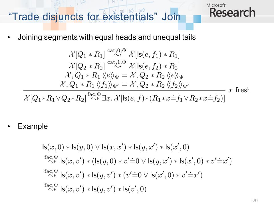 Joining segments with equal heads and unequal tails Example 20 Trade disjuncts for existentials Join