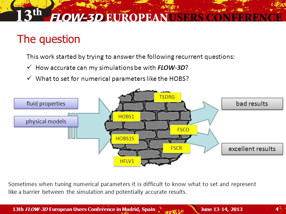 The question June 13-14, 201313th FLOW-3D European Users Conference in Madrid, Spain4 This work started by trying to answer the following recurrent questions: How accurate can my simulations be with FLOW-3D.
