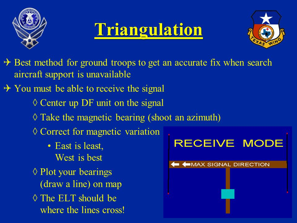 Triangulation Best method for ground troops to get an accurate fix when search aircraft support is unavailable You must be able to receive the signal