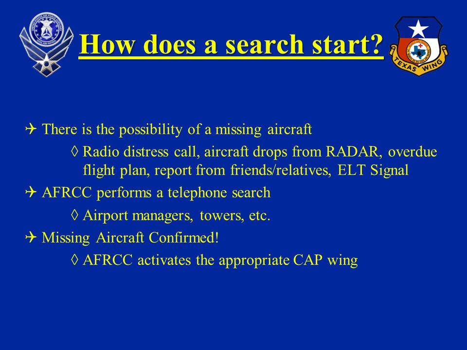How does a search start? There is the possibility of a missing aircraft Radio distress call, aircraft drops from RADAR, overdue flight plan, report fr