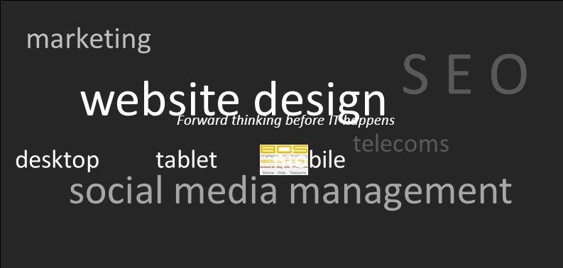 Forward thinking before IT happens marketing S E O website design social media management telecoms desktop tablet mobile