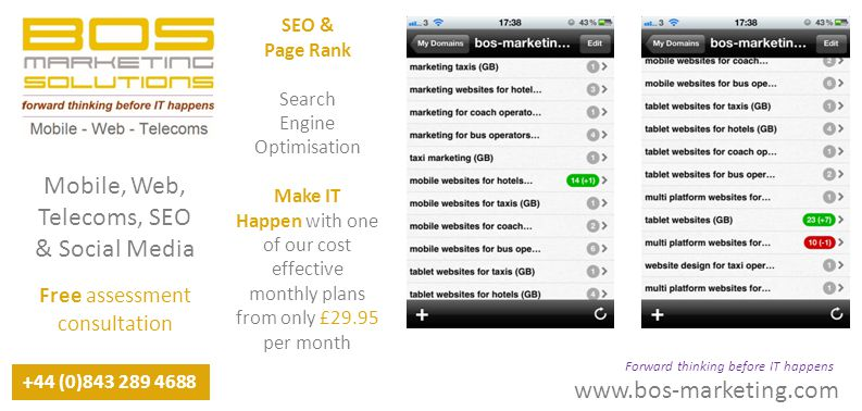 www.bos-marketing.com +44 (0)843 289 4688 Forward thinking before IT happens Mobile, Web, Telecoms, SEO & Social Media Free assessment consultation SEO & Page Rank Search Engine Optimisation Make IT Happen with one of our cost effective monthly plans from only £29.95 per month