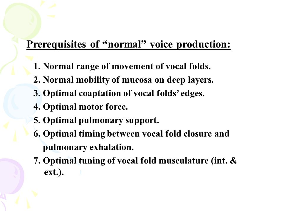 Prerequisites of normal voice production: 1.Normal range of movement of vocal folds.