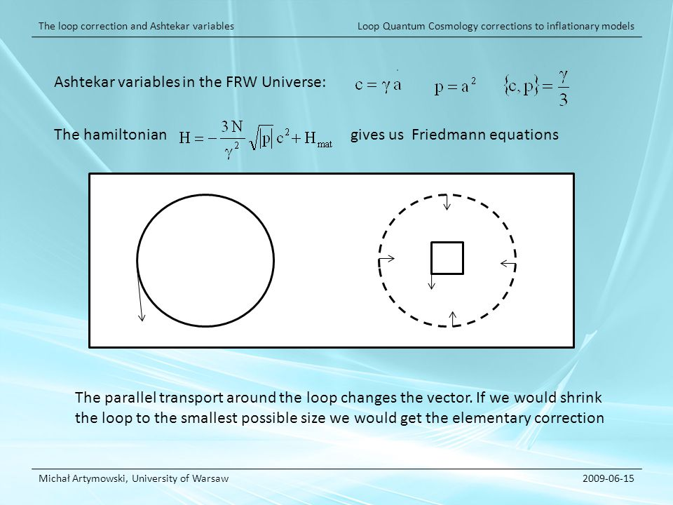 Loop Quantum Cosmology corrections to inflationary models Michał Artymowski, University of Warsaw2009-06-15 The loop correction and Ashtekar variables Ashtekar variables in the FRW Universe: The hamiltonian gives us Friedmann equations The parallel transport around the loop changes the vector.
