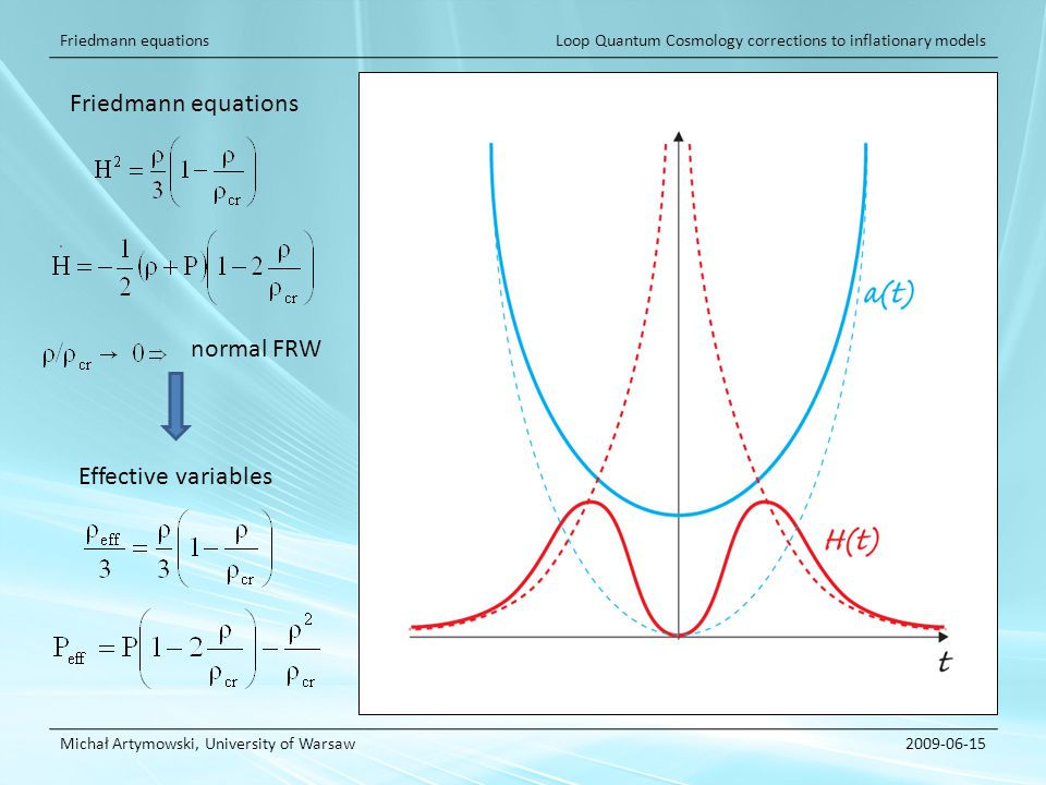 Loop Quantum Cosmology corrections to inflationary models Michał Artymowski, University of Warsaw2009-06-15 Friedmann equations Effective variables normal FRW