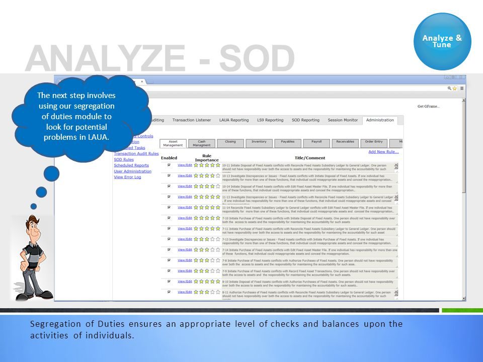ANALYZE - SOD Analyze & Tune Segregation of Duties ensures an appropriate level of checks and balances upon the activities of individuals. The next st