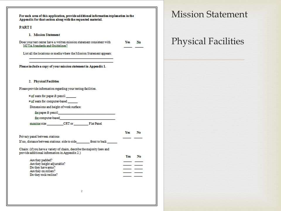 Mission Statement Physical Facilities