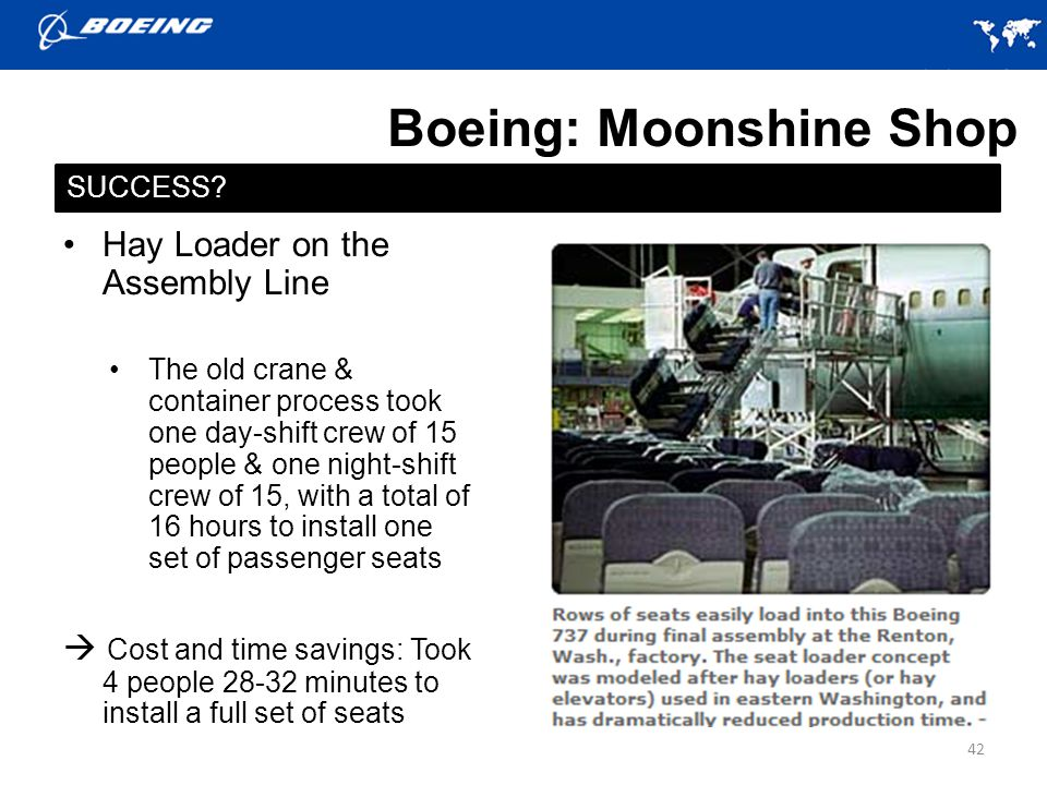 Boeing: Moonshine Shop Hay Loader on the Assembly Line The old crane & container process took one day-shift crew of 15 people & one night-shift crew of 15, with a total of 16 hours to install one set of passenger seats Cost and time savings: Took 4 people 28-32 minutes to install a full set of seats 42 SUCCESS?