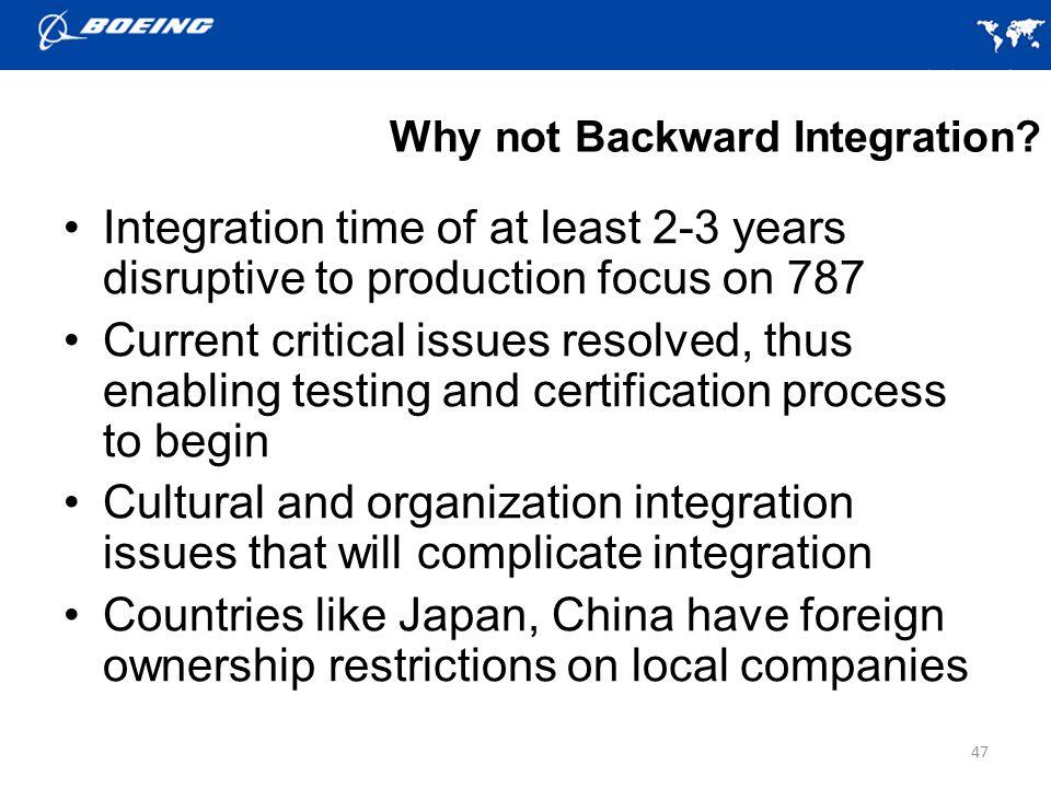 Why not Backward Integration.