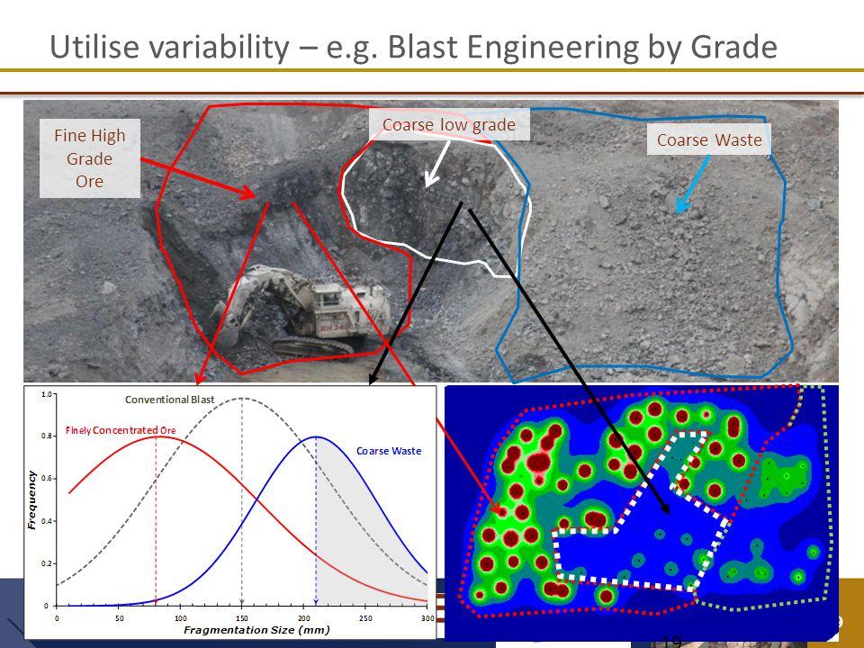 19 Coarse Low Grade Coarse Waste Fine High Grade Ore Utilise variability – e.g. Blast Engineering by Grade Coarse low grade 19