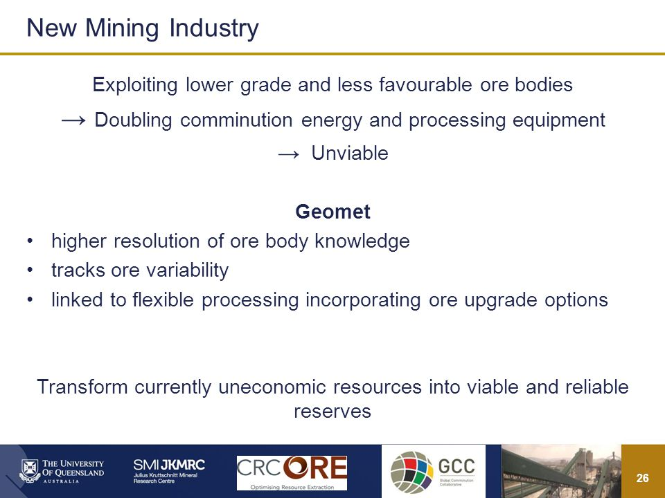 26 Exploiting lower grade and less favourable ore bodies Doubling comminution energy and processing equipment Unviable Geomet higher resolution of ore body knowledge tracks ore variability linked to flexible processing incorporating ore upgrade options Transform currently uneconomic resources into viable and reliable reserves New Mining Industry