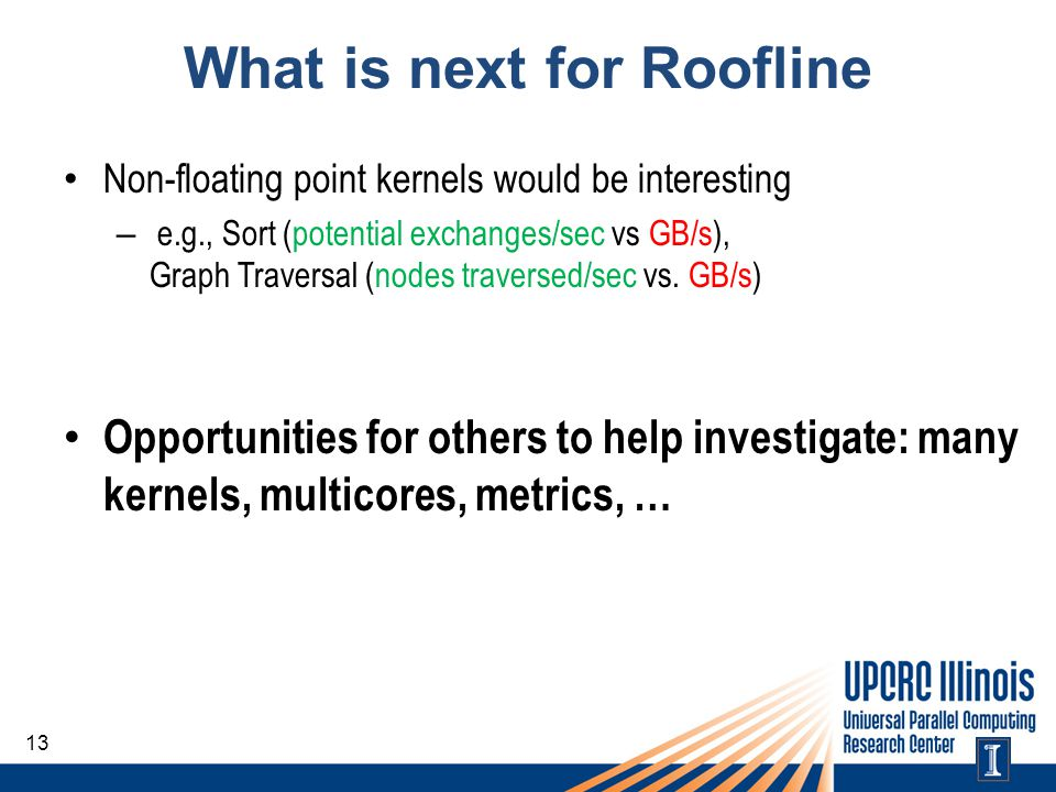 What is next for Roofline Non-floating point kernels would be interesting – e.g., Sort (potential exchanges/sec vs GB/s), Graph Traversal (nodes trave