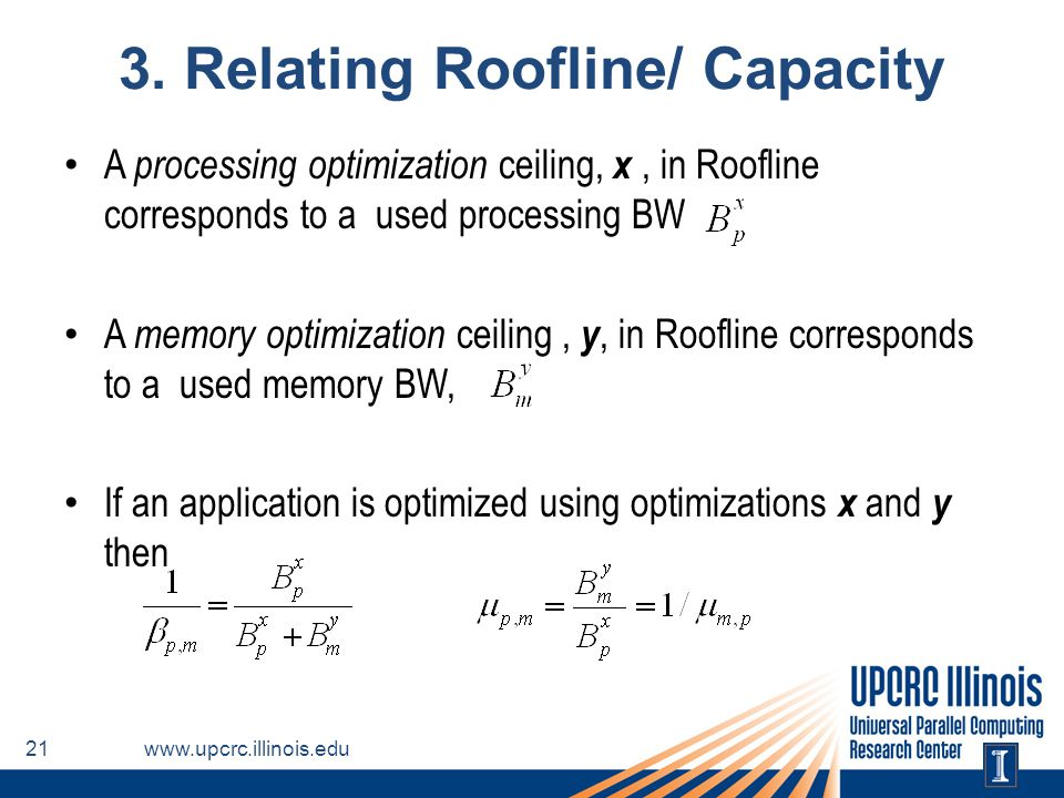 3. Relating Roofline/ Capacity A processing optimization ceiling, x, in Roofline corresponds to a used processing BW A memory optimization ceiling, y,
